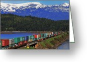 Freight Greeting Cards - Pend Oreille Freight Greeting Card by Benjamin Yeager