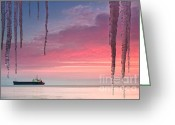 Twilight Greeting Cards - Pendants by the sea Greeting Card by Evgeni Dinev