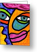 Abstract Bright Color Greeting Cards - Penelope Peeples Greeting Card by Steven Scott