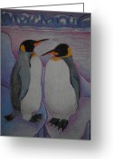 Fantasy Bird Pastels Greeting Cards - Penguins Greeting Card by Agnieszka Reichelt