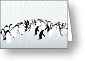 Israel Greeting Cards - Penguins Greeting Card by Maya Shleifer