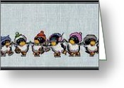 Purple Ice Skates Greeting Cards - Penguins on Ice Greeting Card by J McCombie
