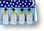 Wildlife Greeting Cards Prints Painting Greeting Cards - Penguins Greeting Card by Patrick J Murphy
