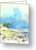 Atlantic Drawings Greeting Cards - Peniche in Portugal 10 Greeting Card by Miki De Goodaboom