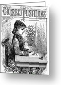 Schoolgirl Greeting Cards - PENMANSHIP MANUAL, c1880 Greeting Card by Granger