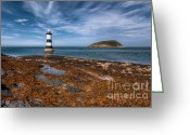Shore Digital Art Greeting Cards - Penmon Lighthouse Greeting Card by Adrian Evans