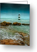 Lighthouse Greeting Cards - Penmon Point Greeting Card by Adrian Evans