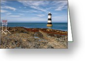 Signpost Greeting Cards - Penmon Point Lighthouse Greeting Card by Adrian Evans