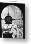Clock Greeting Cards - Penn Station Clock Greeting Card by Van D Bucher and Photo Researchers