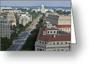 Us Capital Greeting Cards - Pennsylvania Avenue Aerial - Washington DC Greeting Card by Brendan Reals