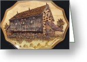 Pennsylvania Pyrography Greeting Cards - Pennsylvania Barn Greeting Card by Clarence Butch Martin