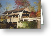Covered Bridge Painting Greeting Cards - Pennsylvania Covered Bridge Greeting Card by Barbara McDevitt