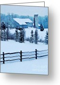 Silo Greeting Cards - Pennsylvania Winter Greeting Card by Sarah Loft