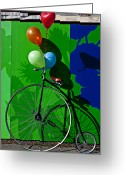 High Wheel Greeting Cards - Penny Farthing and Balloons Greeting Card by Garry Gay