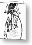 Penny Farthing Greeting Cards - Penny Farthing Bicycle Greeting Card by Granger