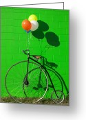 Balloon Photo Greeting Cards - Penny farthing bike Greeting Card by Garry Gay