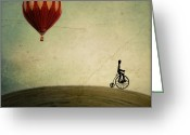 Hot Air Balloon Photo Greeting Cards - Penny Farthing for Your Thoughts Greeting Card by Irene Suchocki