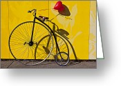 High Wheel Greeting Cards - Penny Farthing Love Greeting Card by Garry Gay