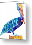 Sea Bird Greeting Cards - Penny Pelican Greeting Card by Jo Lynch
