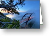 Austin Greeting Cards - Pennybacker Bridge In Morning Fog Greeting Card by Evan Gearing Photography