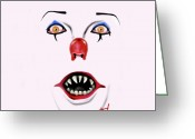 Clown Greeting Cards - Pennywise the Clown Greeting Card by Danielle LegacyArts