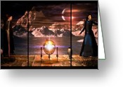 Science Fiction Tapestries Textiles Greeting Cards - Penquin Magic Greeting Card by Bob Orsillo