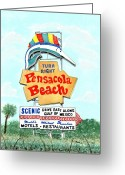 Icon  Painting Greeting Cards - Pensacola Beach Sign Greeting Card by Richard Roselli