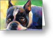 Pet Portrait Drawings Greeting Cards - Pensive Boston Terrier dog painting Greeting Card by Svetlana Novikova