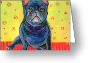 Contemporary Dog Portraits Greeting Cards - Pensive French bulldog painting prints Greeting Card by Svetlana Novikova