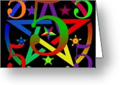  Digital Collage Digital Art Greeting Cards - Penta Pentacle in Black Greeting Card by Eric Edelman
