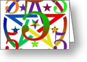 Surrealist Digital Art Greeting Cards - Penta Pentacle White Greeting Card by Eric Edelman