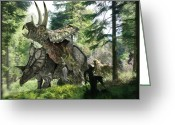 Dinosaurs Greeting Cards - Pentaceratops Dinosaurs Mating Greeting Card by Jose Antonio PeÑas