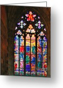 Panel Greeting Cards - Pentecost window - St. Vitus Cathedral Prague Greeting Card by Christine Till