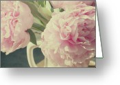 Pink Flower Greeting Cards - Peonies Greeting Card by Gigi Thibodeau