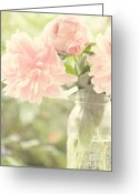 Mason Greeting Cards - Peonies in a Mason Jar Greeting Card by Kim Fearheiley