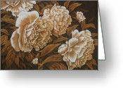 Flowers Pastels Greeting Cards - Peonies in Sepia Greeting Card by Karen Coombes