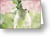 Mason Jar Greeting Cards - Peonies Greeting Card by Kim Fearheiley