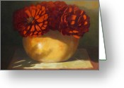 Flower Still Life Prints Painting Greeting Cards - Peonies Greeting Card by Linda Jacobus