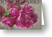 Market Greeting Cards - Peonies Greeting Card by Rebecca Cozart