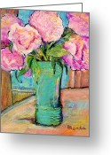 Pink Peonies Greeting Cards - Peony Bouquet in a Window Greeting Card by Blenda Tyvoll