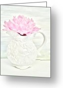 Wrap...floral Greeting Cards - Peony in a Pitcher Greeting Card by Marsha Heiken