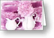Pitcher Greeting Cards - Peony Pals Greeting Card by Marsha Heiken