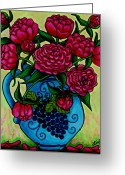 Fuchsia Greeting Cards - Peony Party Greeting Card by Lisa  Lorenz
