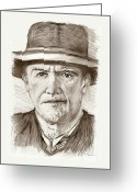 Western Pencil Drawings Greeting Cards - People of Old West a pencil drawing in black and white  Greeting Card by Mario  Perez