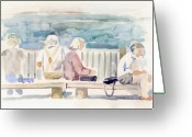 City Greeting Cards - People on Benches Greeting Card by Linda Berkowitz