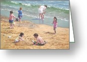 M P Davey Greeting Cards - people on Bournemouth beach kids in sand Greeting Card by Martin Davey