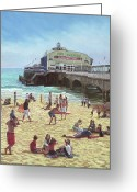 Playing On Beach Greeting Cards - people on Bournemouth beach Pier theatre Greeting Card by Martin Davey