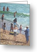 Playing On Beach Greeting Cards - people on Bournemouth beach pulling dingys Greeting Card by Martin Davey
