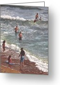 Playing On Beach Greeting Cards - People On Bournemouth Beach Waves And People Greeting Card by Martin Davey