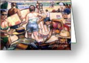 Landscapes Pastels Greeting Cards - People On The Beach Greeting Card by Stan Esson